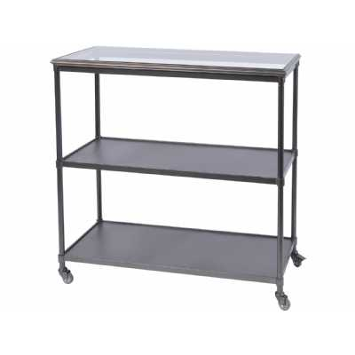 Moresby Black Metal 3 Shelf Trolley Unit Industrial Design with Glass