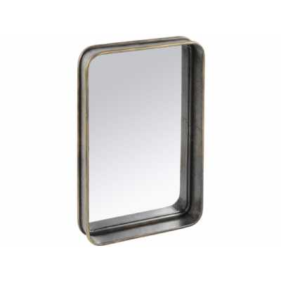 Moresby Large Rectangular Black Frame Wall Mirror with Gold Trim