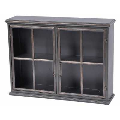 Moresby 2 Door Black Wall Mounted Hanging Storage Display Cabinet