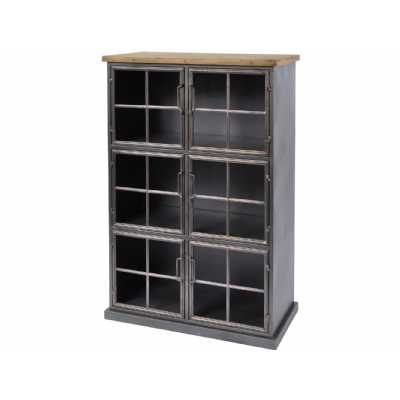 Moresby Industrial Style Wood And Iron Cabinet with 6 Glass Doors