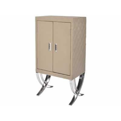 Wine Bar Drinks Cabinet Cream Leather Quilted Diamond Stitch Sides Polished Steel Legs