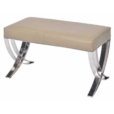 Ecclestone Beige Leather Bench with Polished Steel Frame