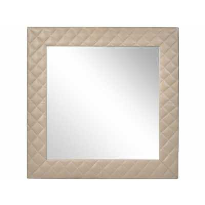Ecclestone Leather Square Wall Mirror Cream Quilted Effect Frame