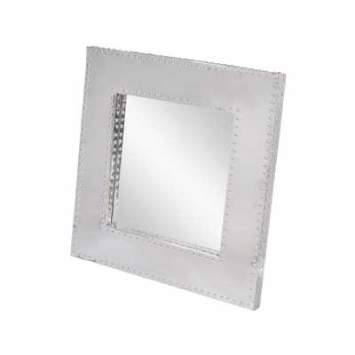 Duke Polished Silver Steel Square Wall Mirror with Stud Detail