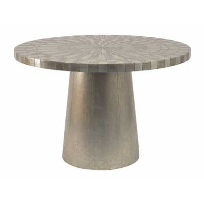 Coco Round Dining Table Silver Embossed Metal 4 Seater Modern Living