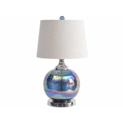 Iridescent Blue Green Sphere Table Lamp With Bleached Linen Shade E27 60W 1