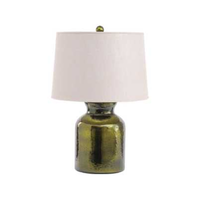 Olive Green Bottle Table Lamp With Natural Linen Shade E27 60W 1