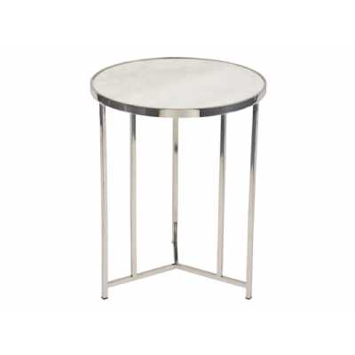 Meso Round Side Lamp Table White Marble Top and Polished Nickel Metal Frame
