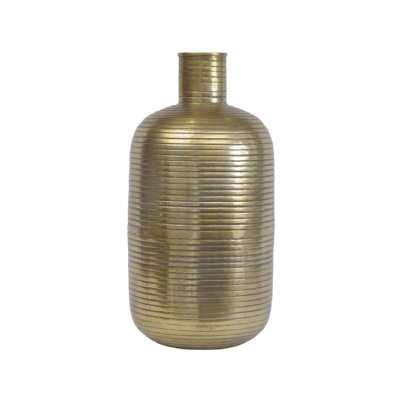 Tangiers Large Gold Ribbed Texture Aluminium Cylindrical Vase