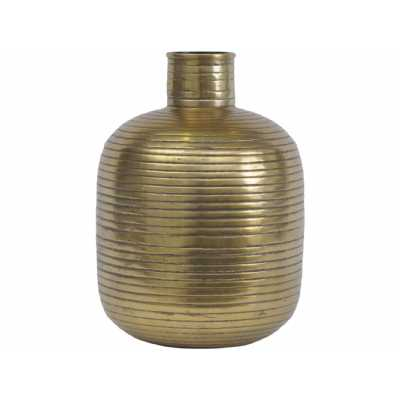 Tangiers Small Gold Ribbed Texture Aluminium Cylindrical Vase