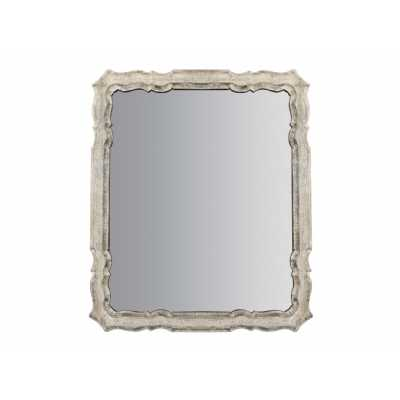 Moretti Rectangular Wall Mirror with Wooden Whitewashed Frame