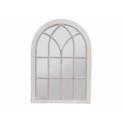 Distressed Cream Iron Arched Top Window Wall Mirror