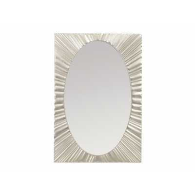 Silver Oval Wall Mirror with Starburst Rectangular Iron Frame