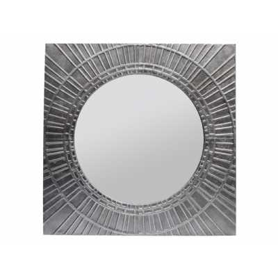 Inca Antique Silver Round Wall Mirror with Square Sunburst Iron Frame