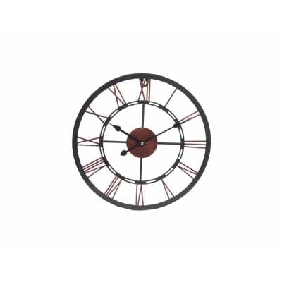 Small Metal Black And Copper Skeletal Wall Clock