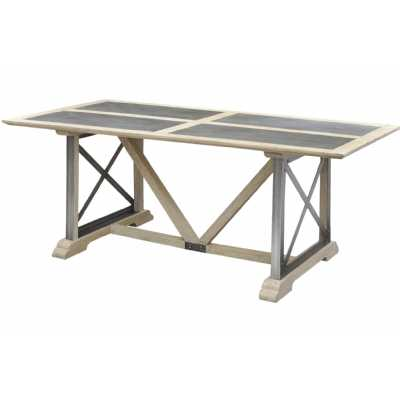 Industrial Iron Homestead Dining Table with Wood and Zinc Top