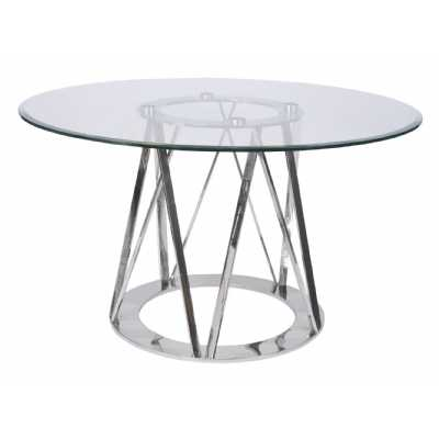 Linton Round Dining Table Stainless Steel And Glass 4 Seater