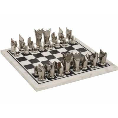 Black and White Marble Base Chess Set with Polished Nickel and Granite Pieces 35.5cm