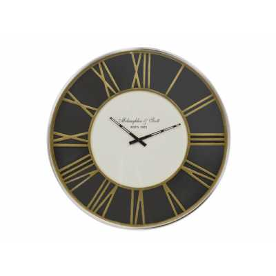 Art Deco Black Round Wall Clock with Brass Roman Numerals