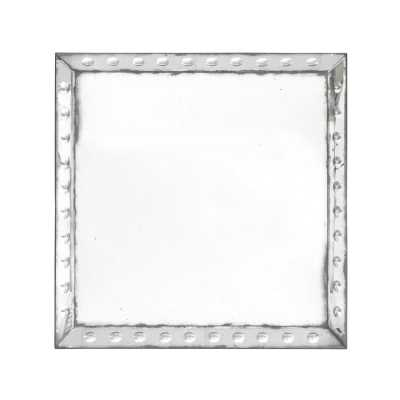 Antique Square Wall Mirror Large Aged Frame with Rivet Detail 80cm