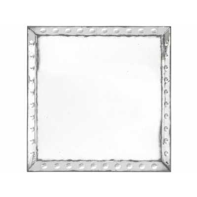 Santiago Antique Square Wall Mirror Large Aged Frame with Rivet Detail