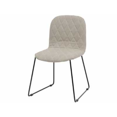 Retro Clifton Cream Quilted Dining Chair with Black Metal Legs