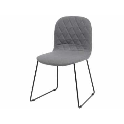 Retro Clifton Grey Quilted Dining Chair with Black Metal Legs