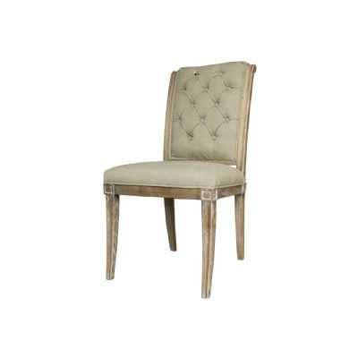 Homestead Grey Button Back Dining Chair with Washed Ash Wood Frame