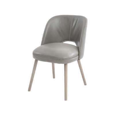 Helix Grey Leather Dining Chair with Ash Legs and Cutout Back
