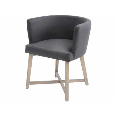Brooklyn Botanical Dining Chair in Dark Grey Velvet Elm Legs