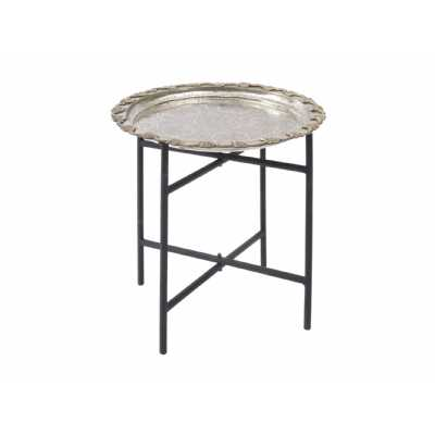 Antique Moroccan Round Nickel Tray Table with Black Iron Legs
