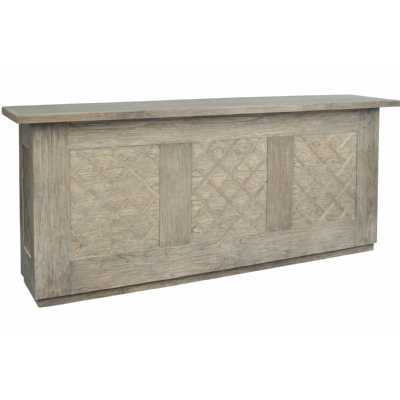 Anstey Artisan crafted Mindi wood bar cabinet with Lattice Front