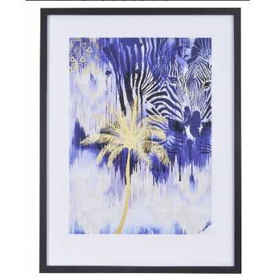 Summer Thornton Ikat Zebra Abstract Modern Print in Black Frame