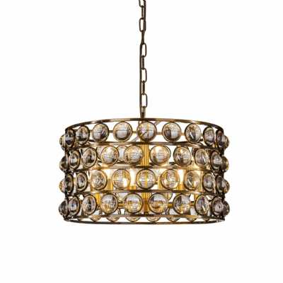 Orion Crystal Cylinder Pendant E14 40W Traditional Ceiling Light