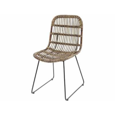 Modern Toba Rattan Open Slat Dining Chair with Metal Frame