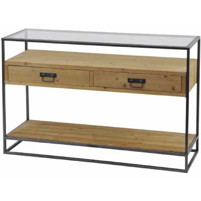 Kempsey Two Drawer Console Table Fir Wood And Iron with Glass Top