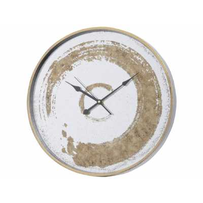 Antique Round Mirrored Wall Clock with Gold Swirl Design