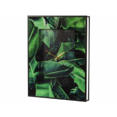 Green Palm Print Glass Wall Clock with Gold Hands