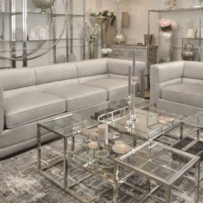 Large Modern Light Grey Velvet 3 Seater Sofa with Stainless Steel Base
