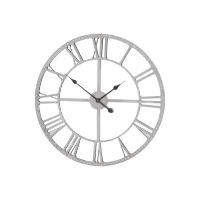 Grey Metal Frame Round Mirrored Wall Clock with Studded Detail