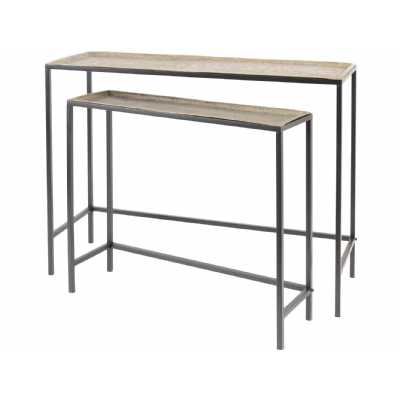 Elewana Brass And Black Set Of Two Console Tables