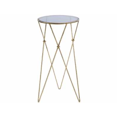 Tall Slim Antique Gold Finished Metal and Smoked Glass Round Side Lamp Table