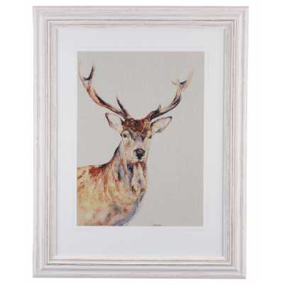 Modern Stag with Large Antlers Print In White Frame