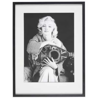 Iconic Monochrome Marilyn Monroe Lute Print with Black Frame