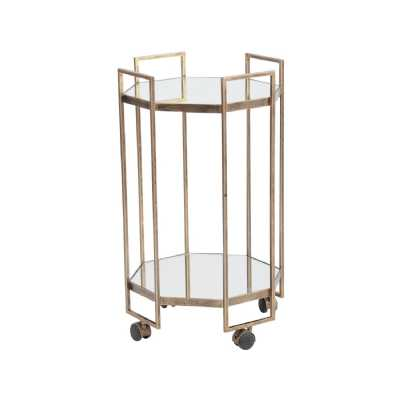 Occtaine Glass And Metal Gold Finish Octagonal Kitchen Bar Trolley With Castor Wheels