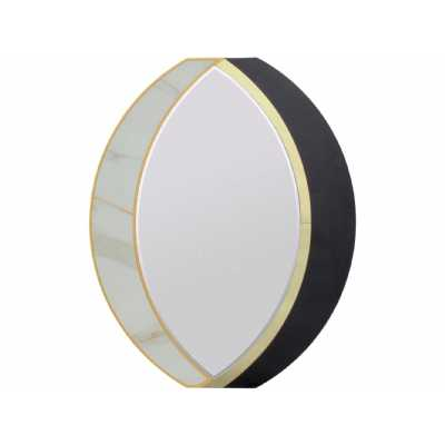 Amhurst Divergent Cresent Moon Curved Black and Gold Oval Wall Mirror White Marble Inlay