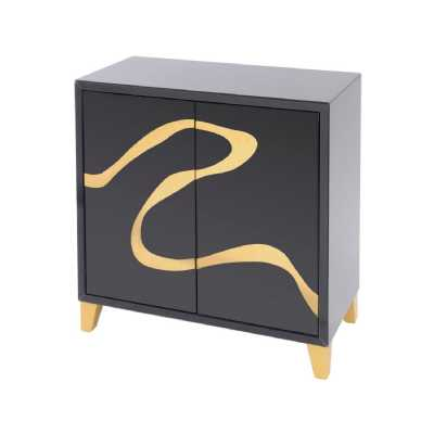 Taroko Black Mirrored Cabinet with Gold Motif