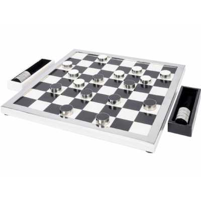 Polished Black Egan Decorative Modern Checker Game in Steel Frame 55x45x2.5cm