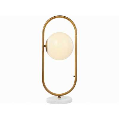 Orbital Milk Glass, Brass and Marble Table Lamp E14 25W 1