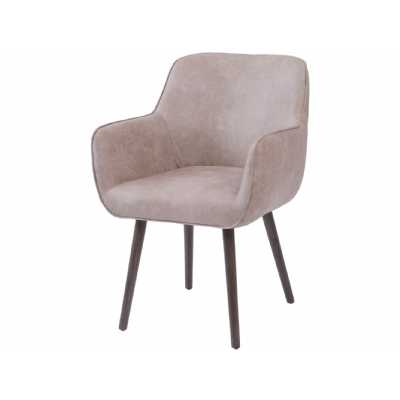 Grey Leather Look Retro Dining Chair with Arms On Black Painted Tapered Legs